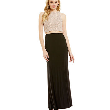Cachet Caviar Beaded Crop Top & Skirt Set | Dillards