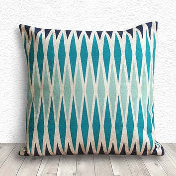 Pillow Covers, Decorative Throw Pillows, Pillow Cases, Cushion Cover, Blue Pillow Covers, Linen Pillow Cover 18x18 - Printed Geometric - 199