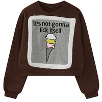 Coffee Embroidery Letter and Ice Cream Pattern Cropped Sweatshirt