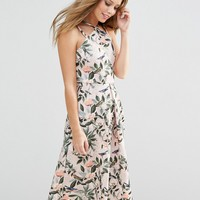 ASOS Structured Midi Dress in Bird and Floral Print at asos.com