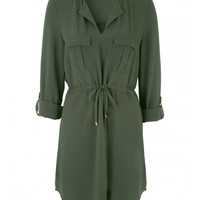 Womens Khaki Plain Shirt Dress | Peacocks