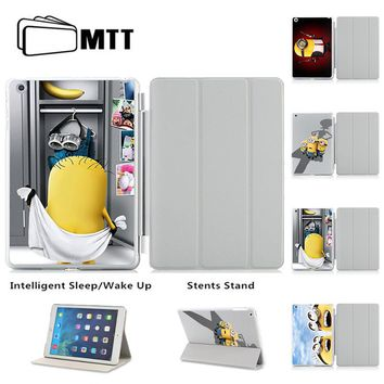 MTT Cute Cartoon Minions Tablet Case For iPad Air Cases Smart Sleep Wake PU Leather Case Three Fold Stand Cover For Ipad Air 2