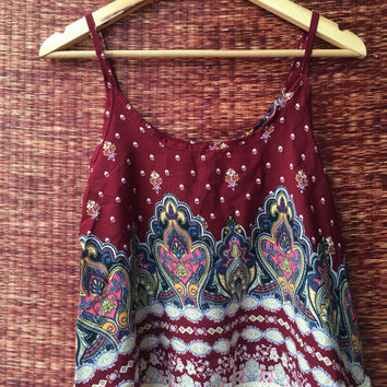 Boho Tank Tops Fringed Vest Blouse Crop Shirt Bohemian Gypsy Hippie India Styles floral fabric Beach festival fashion Clothing Red