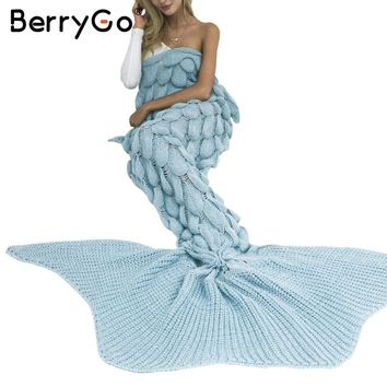 BerryGo Fashion large fishtail knitted throw blanket Warm autumn winter sofa blanket Fish scale sleeping bed mermaid blanket
