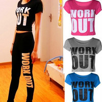 WORK OUT  Slim Yoga T-shirts Crop top [6407910724]
