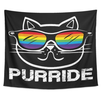 LGBT Gay Pride Tapestry - Rainbow Cat Purride