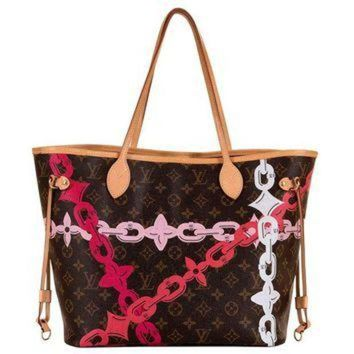 PEAPYD9 Limited Edition Louis Vuitton Logo 'Never-full' Bag with Natural Leather Trim