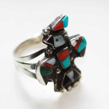 Zuni Inlaid Ring Thunderbird Coral Onyx MOP Sterling Size 7 O