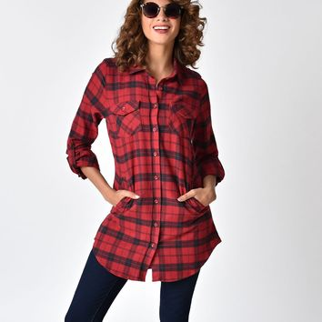 Red & Black Plaid Cotton Flannel Button Up Shirt