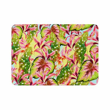 "Mmartabc ""Exotic Botanical Pattern"" Yellow Pink Illustration Memory Foam Bath Mat"