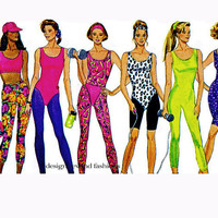 UNITARD LEOTARD LEGGINGS Pattern Top Briefs Headbands 90s Workout Exercise Clothes Butterick 6541 UNCuT Womens Misses Petite Sewing Patterns