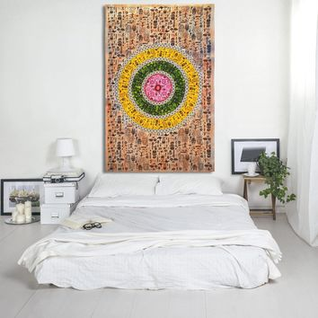 African Tribal Art Pattern Tribal Life Print Tapestry Hippie Bohemian Bedspread Wall Hanging for Bedroom Living Room 80 X 60 inches Cotton Tapestry