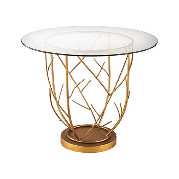 1114-205 Thicket Entry Table In Gold Leaf And Clear Glass - Free Shipping!