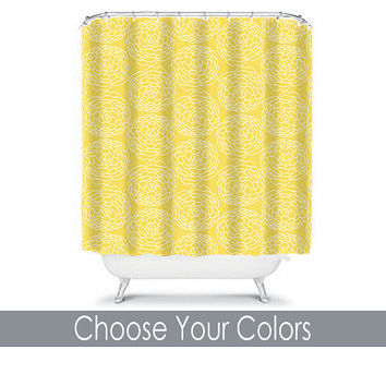 YELLOW Shower Curtain CUSTOM You Choose Colors Mum Dahlia Flower Floral Bathroom Bath Polyester Made in the USA