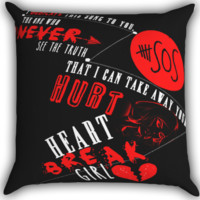 Heartbreak Girl 5SOS black Zippered Pillows  Covers 16x16, 18x18, 20x20 Inches