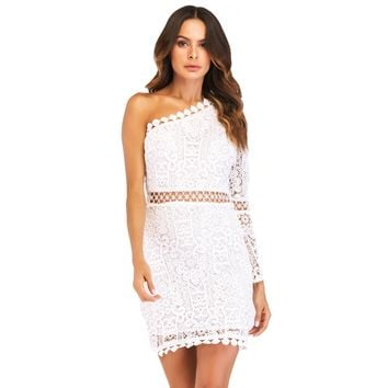 New Sexy Women Lace Dress One Shoulder Flare Sleeve Hollow Out Clubwear Party Dress White