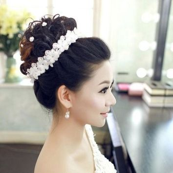 CREYUG3 Handmade lace diamond Korean hair band bride headdress headdress flower hair flowers wedding wedding dress accessories = 1929489284