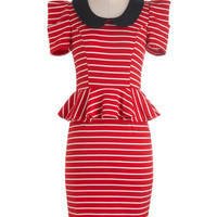 Work with Me Dress in Red Stripes | Mod Retro Vintage Dresses | ModCloth.com