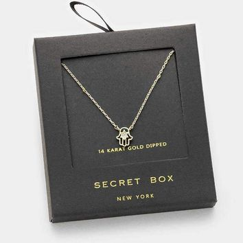 14 K Gold Dipped Crystal Hamsa Hand Pendant Necklace With Secret Box