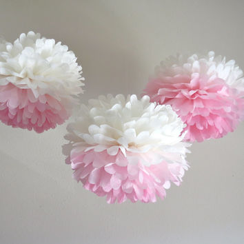 Ombre Pink Paper Pom-Poms - 3 Piece Collection - Weddings - Modern - Romantic - Bridal Shower - Photo Prop - Birthday - Nursery
