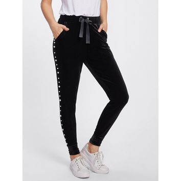 Pearl Beaded Side Grommet Velvet Sweatpants