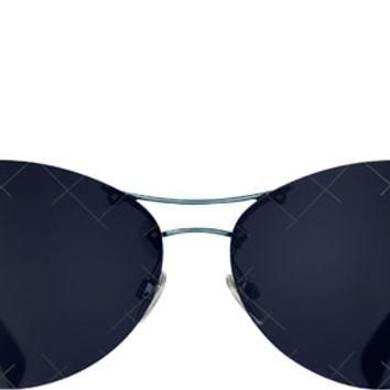 Dark blue Pilot Quilting Chanel Sunglasses with Blue Mirror Lenses