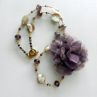 Lavender Floral and Shell Beaded Necklace