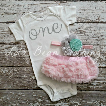 READY TO SHIP Baby Girl 1st Birthday Outfit Cake Smash Photography Props Silver One Onesuit Pink Bloomers Pink Grey Mint Headband