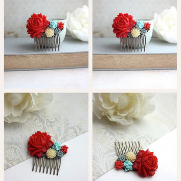 Large  Red Rose, Aqua, Coral, Ivory, Flowers Bouquet Collage Antiqued Brass Filigree Hair Comb. Bridesmaid Gift. Red Wedding. Bridal Weddin