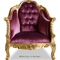 Fabulous and Baroque — Violette Chair - Gold & Aubergine