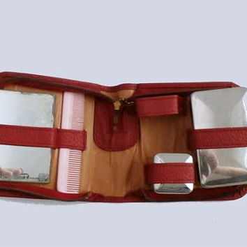 Traveling Set ,Toiletry Leather Travel Case, Vintage Travel kit, overnight kit, Vintage Red Leather Travel Set
