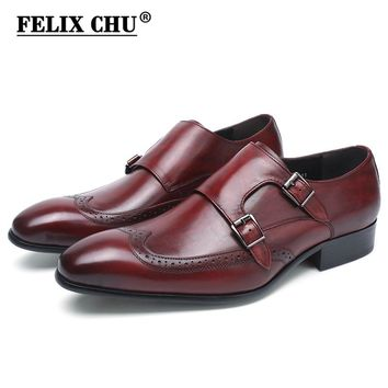 FELIX CHU High Quality Genuine Leather Burgundy Monk Strap Men Dress Shoes