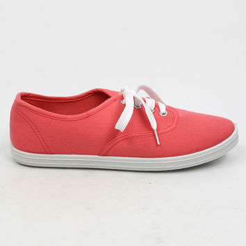 """Buddy"" Canvas Lace Up Walking Sneakers - Coral"