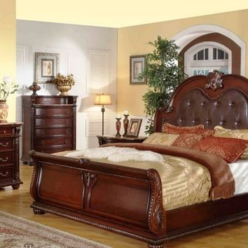 5 pc amber collection dark wood finish with bonded leather tufted padded headboard sleigh style bedroom set with marble tops
