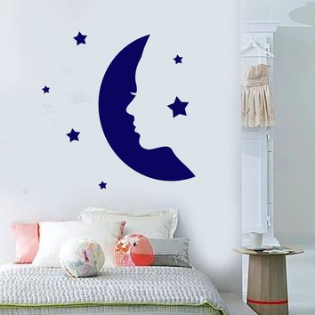 Vinyl Wall Decal Girl Face Silhouette Moon Stars Stickers (2275ig)