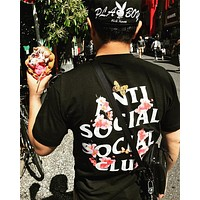 Anti Social Social Club Summer Hot Sale Women Men Cherry Blossom Letter Print T-Shirt Top Blouse