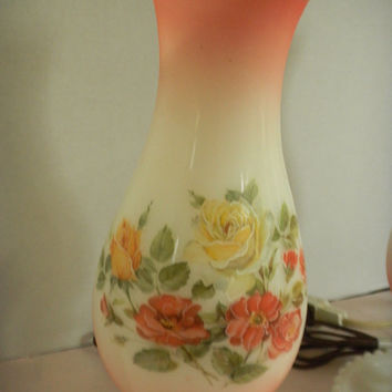 Vintage Milk Glass Hurricane Lamps, Beautiful Milkglass Shades with roses,, EggertsvilleTreasure