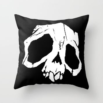 Ghoul Skull Throw Pillow by Abigail Larson