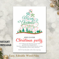 Christmas Party Invitation Template - Printable Christmas Tree - Holiday Party Card - Christmas Card - Editable Template - Green - Red - DIY