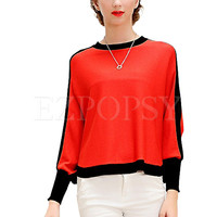 Womens Elegant Bat Sleeve Casual Pullover Knit Wear