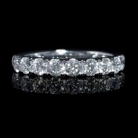 .91ct Diamond 18k White Gold Round Brilliant Cut Wedding Band Ring