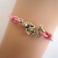 Antiqued Silver Cute Little Mermaid Bracelet, Pink Genuine Leather Rope, Mermaid Jewelry, Best Bridesmaid Gift, Friendship Graduation Gift