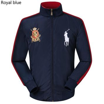 POLO RALPH LAUREN 2018 new trend men's breathable casual embroidery logo stand collar jacket Royal blue