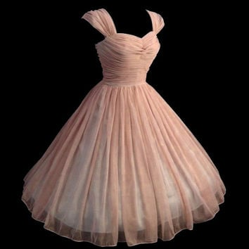 PLUS SZ...Vintage 1950's 50s Style Ruched Chiffon Dress ... Party... Prom ... PLUS Size for this listing... Delicious Colors...