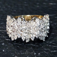 Diamond Band Ring Modernist Engagement Wedding White and Yellow Gold Vintage