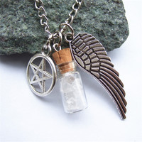 1pcs Silver Tone Supernatural Protection Necklace Angel Wing Pentagram With Salt Bottle Pendant Chain Necklace
