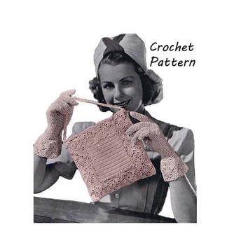 Lacy Bag and Gloves Crochet Pattern || Vintage 1940's' || Reproduction Printed Pattern 1001-BGTB