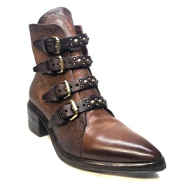 A.S. 98 Vintage Brown Snakeskin Embossed Leather Buckle Boot