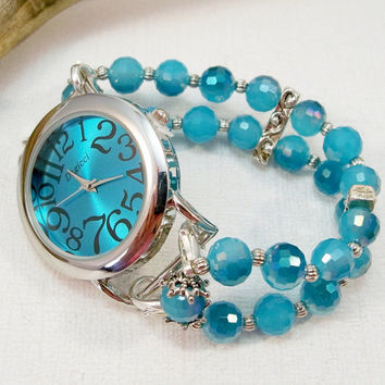 Turquoise Blue and Silver Watch with Interchangeable Watch Band, Beaded Watch Band, Silver Watch, Watch Bracelet, Wrist Watch