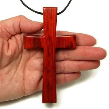 Large Cross Pendant for Men handmade from Redheart Wood, Large Wooden Cross Necklace for Men, Religious Gifts, Large Cross Baptism Gift